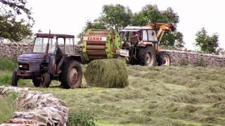 Fell Silage - Baling with Claas and Classic Tractors.