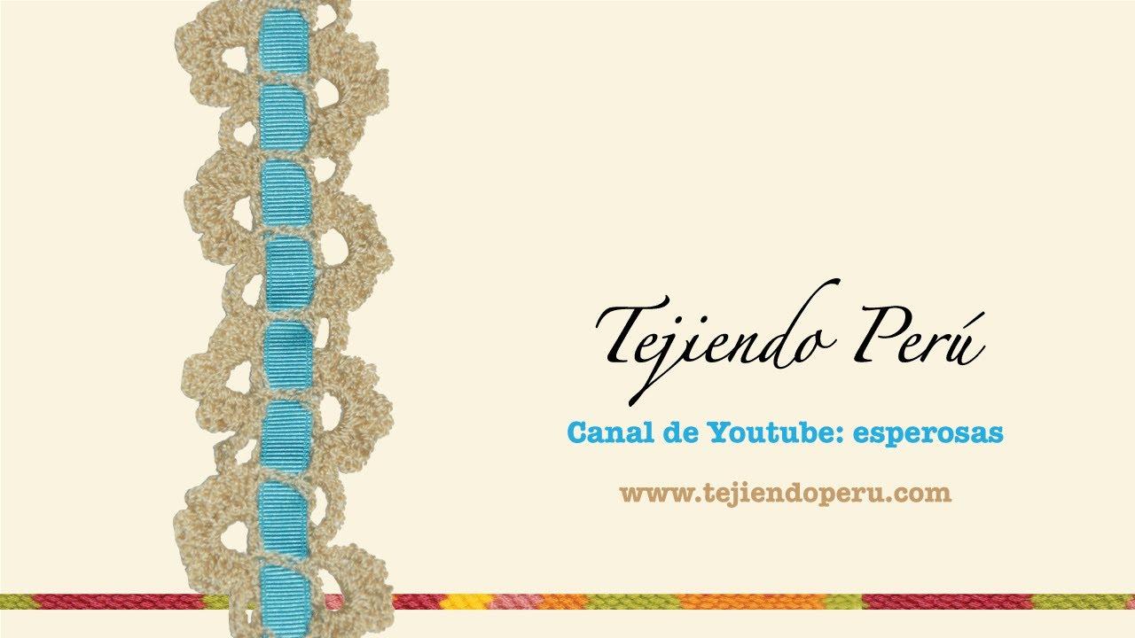 Cenefa para aplicar tejida a crochet # 8: con pasacintas - YouTube