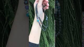 黑體拉長石+磷灰石+海藍寶*丹泉石108顆念珠-2