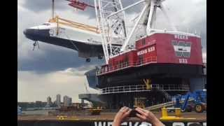 Enterprise Space Shuttle lifted up to Intrepid NYC [6.6.12]