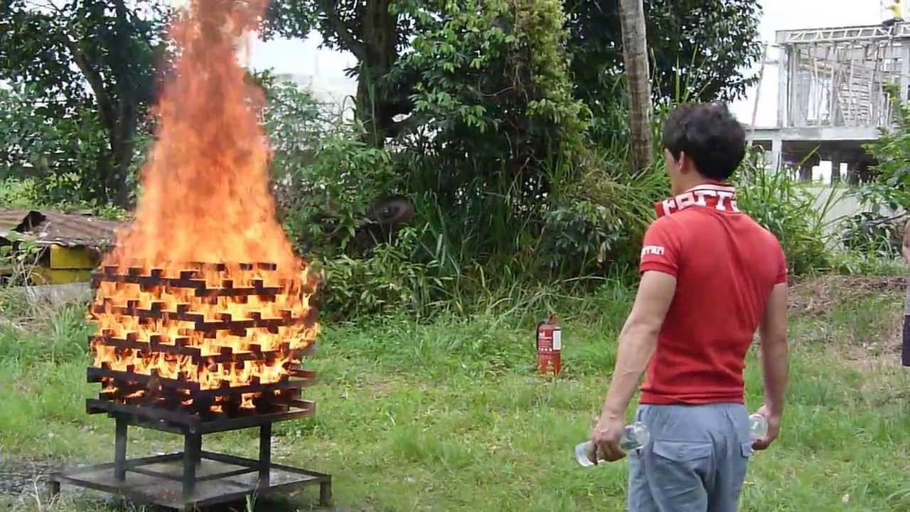 999 Fire Fighter Throw Type Fire Extinguisher demo - YouTube  |Fire Figher Demonstration