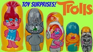 TROLLS Nesting Matryoshka Dolls, Poppy, Branch, Guy Diamond, DJ Suki Stacking Cup Toy Surprise /TUYC