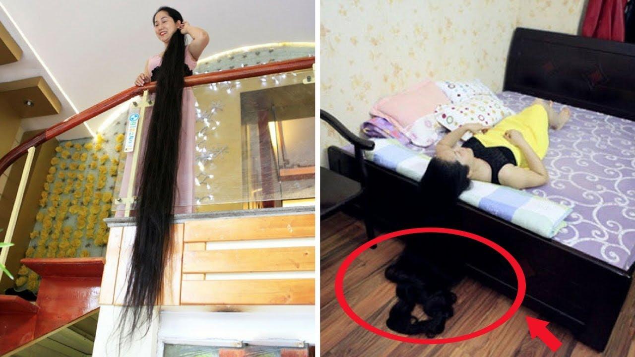 Cô gái có bộ tóc dài nhất Việt Nam, nhìn ảnh khi gội đầu và đội mũ bảo hiểm mà suýt sặc