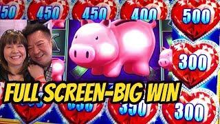 BIG WIN-FULL SCREEN-& MY BEST WIN ON THE PIGGIES!