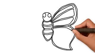 How to draw a Butterfly for Kids | Butterfly Coloring Page for Kids | Drawing Extra