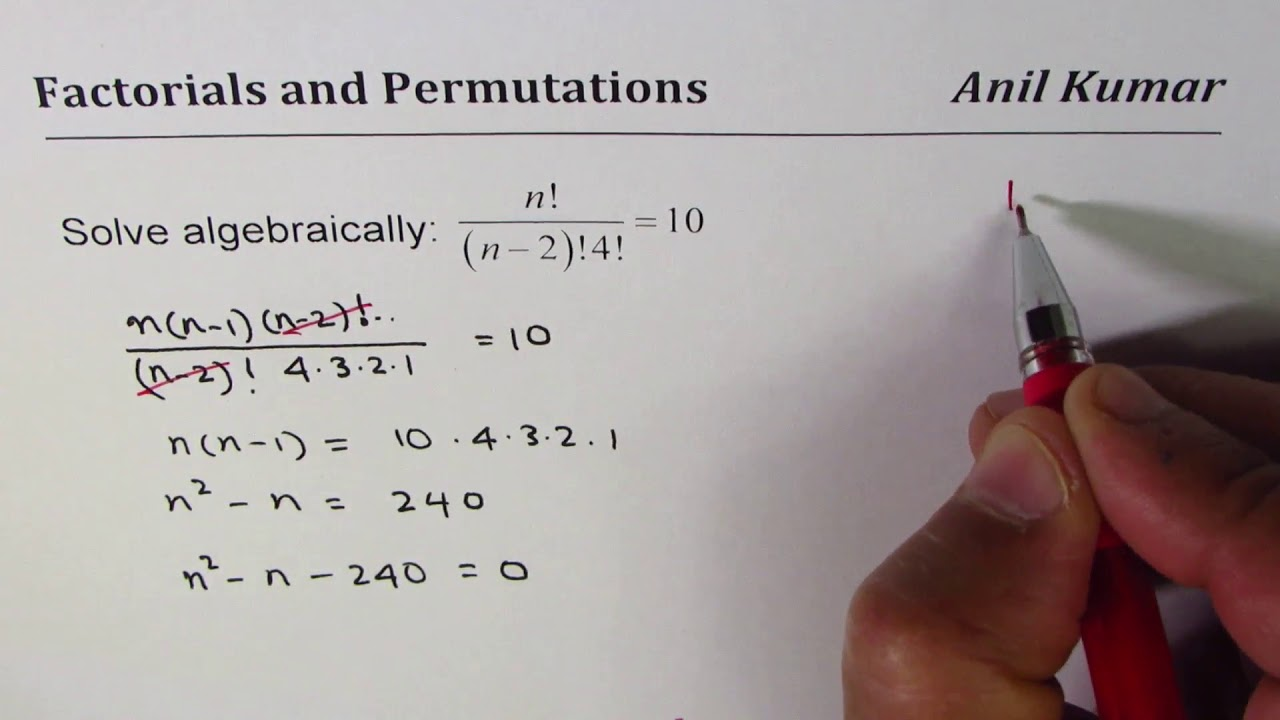How To Solve Equations With Factorials