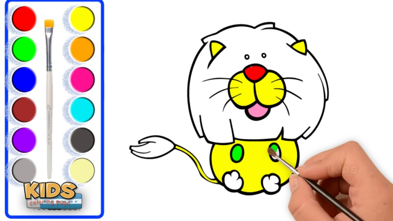 How to draw a baby lion cute for kids ❤ Doraemon super coloring ...