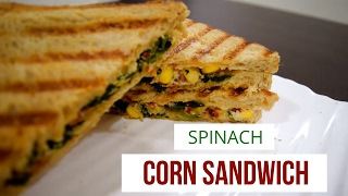 Spinach Corn Sandwich Recipe | Kids Lunch Box idea | Healthy Sandwich | Shree's Recipes