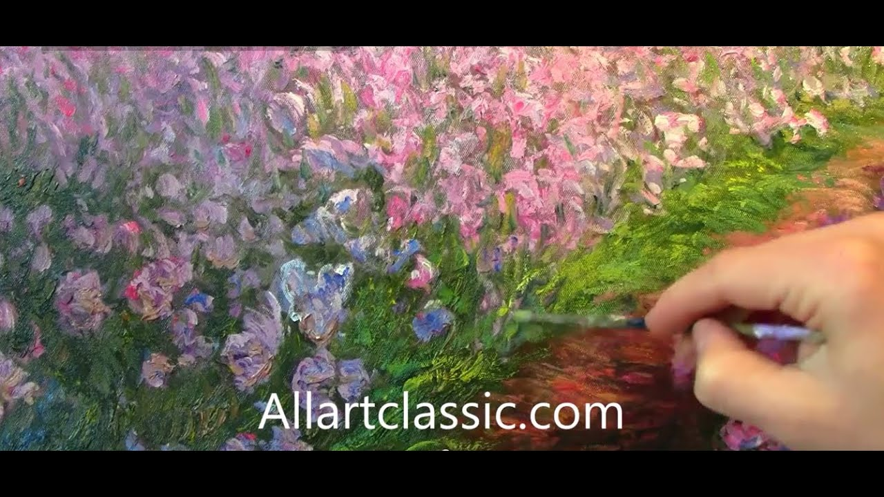 Painting Monet Irises In The Garden Impressionism Youtube