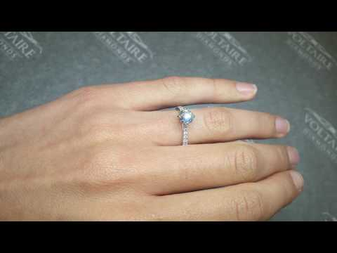 Compass Set Round Brilliant Solitaire Engagement Ring with Diamonds :: ER 2224