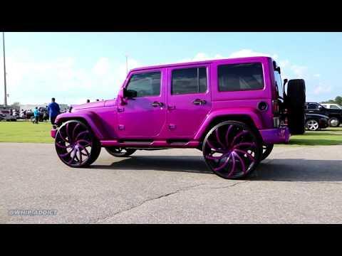 """WhipAddict: Kandy Magenta Jeep Wrangler on 28"""" AZA-504 Azara Wheels!"""