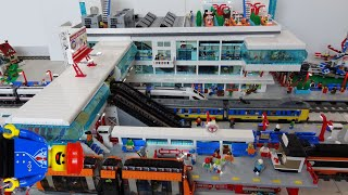 Huge Lego train station MOC of 25000 bricks with Lego monorail and bus platforms @AlmightyArjen