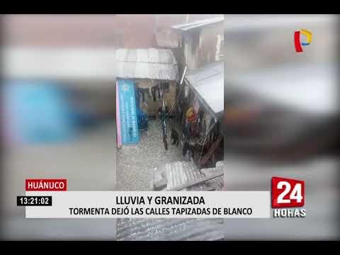 Huánuco: torrenciales lluvias y granizadas se reportaron en la ciudad de La Unión