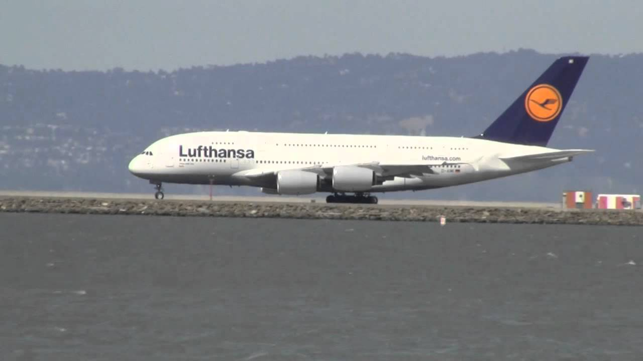 lufthansa a380 800 lh 455 sfo fra takeoff hd youtube. Black Bedroom Furniture Sets. Home Design Ideas