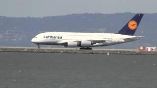 Lufthansa A380-800 LH-455 SFO-FRA Takeoff HD