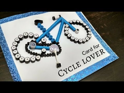 Greeting Card for Cycle Lover | DIY Paper Cycle Card | How To Make a Quilling Bicycle