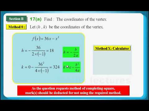 HKDSE 2013 Maths Core Paper 1 Q17: Method of Completing Square ...