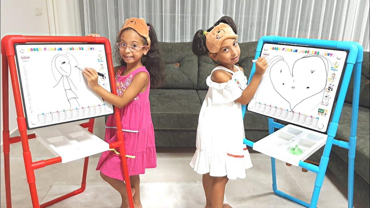 Sıla ve Mira Gözleri Kapalı Resim Yaptı En Çok Puanı Hangisi Aldı | Eğlenceli Çocuk Videosu