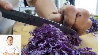 ASMR Fast Precise Cutting Skills Using A Very Sharp Carbon Steel Knife