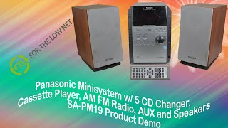 Panasonic Mini System 5 Disc CD Player, Cassette Player/Recorder, AM/FM Radio, Aux and Speakers Demo