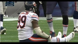 Chicago Bears DE Lamarr Houston injured himself celebrating a sack vs Patriots 2014