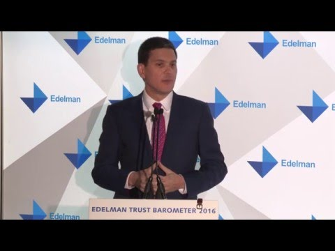 """Edelman Trust Barometer 2016: David Miliband on """"chaotic policy"""" in Europe"""
