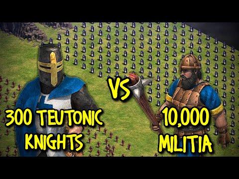 300 ELITE TEUTONIC KNIGHTS Vs 10,000 MILITIA | AoE II: Definitive Edition