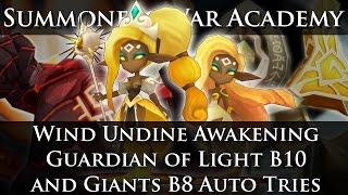 Summoners War Academy: Wind Undine Awakening → Delphoi! Guardian of Light B10 / Giants B8 Auto Tries