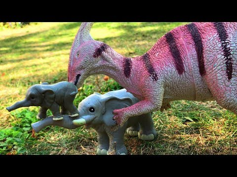 Dinosaur Help a Lost Baby Elephant to find His Mom - Toys Video for Kids - Learn Animals Names