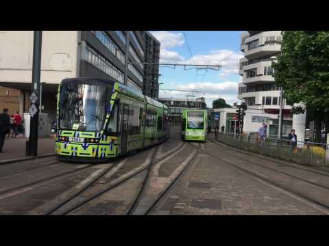 2 London Tramlink trams at East Croydon