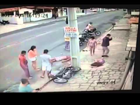 No helmet two girls hit pole on scooter