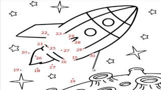 Детские игры онлайн для детей. Рисунки по точкам РАКЕТА онлайн