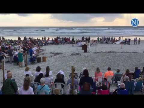 Our Lady Of Lourdes Catholic Church Holds Its Easter Sunrise Service On Daytona Beach