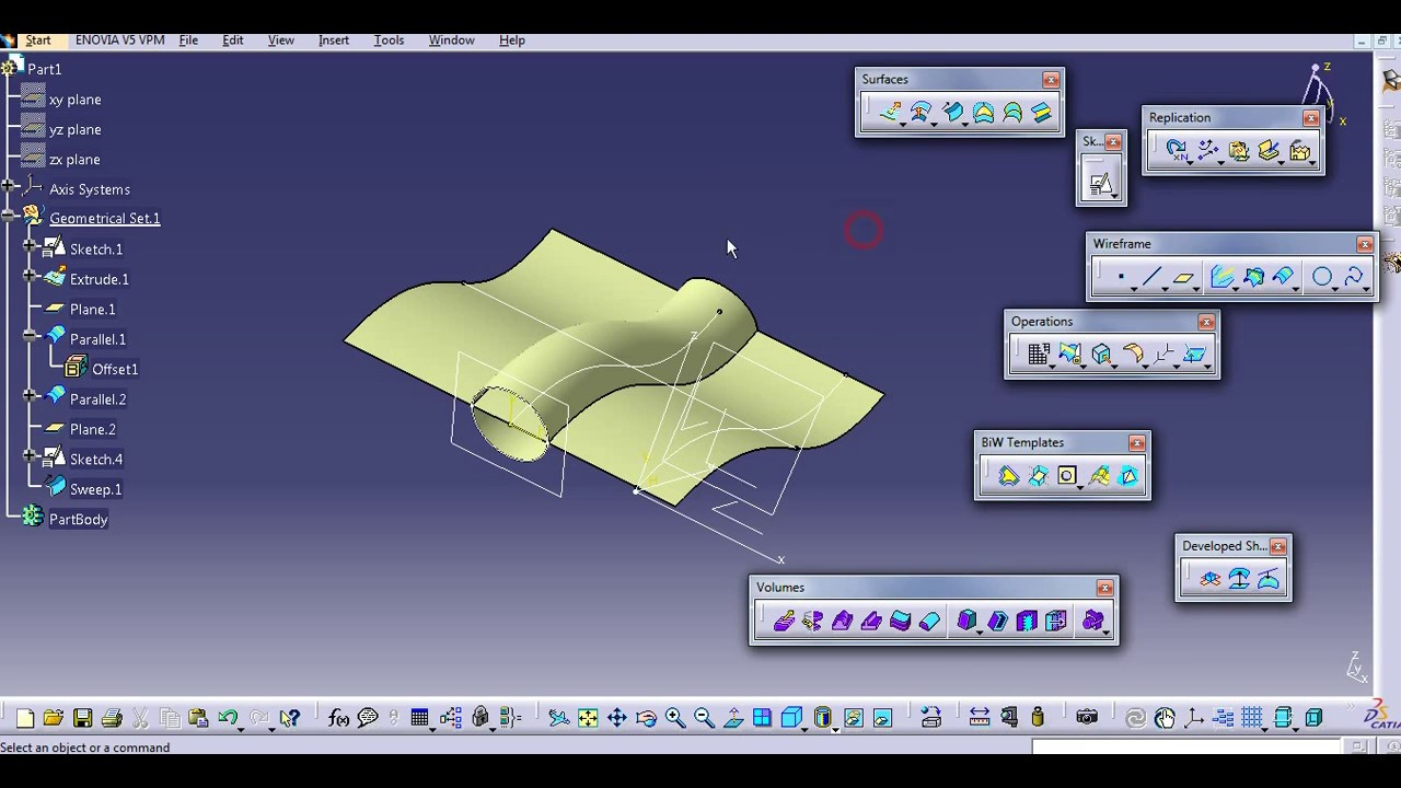 PROJECTION COMBINE INTERSECTION PARALLEL CURVE CATIA V5