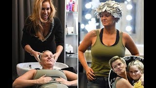 Kerry Katona messes around with her kids in the salon as she gets a new set of blonde