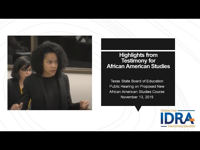 Testimony for African American Studies 2019