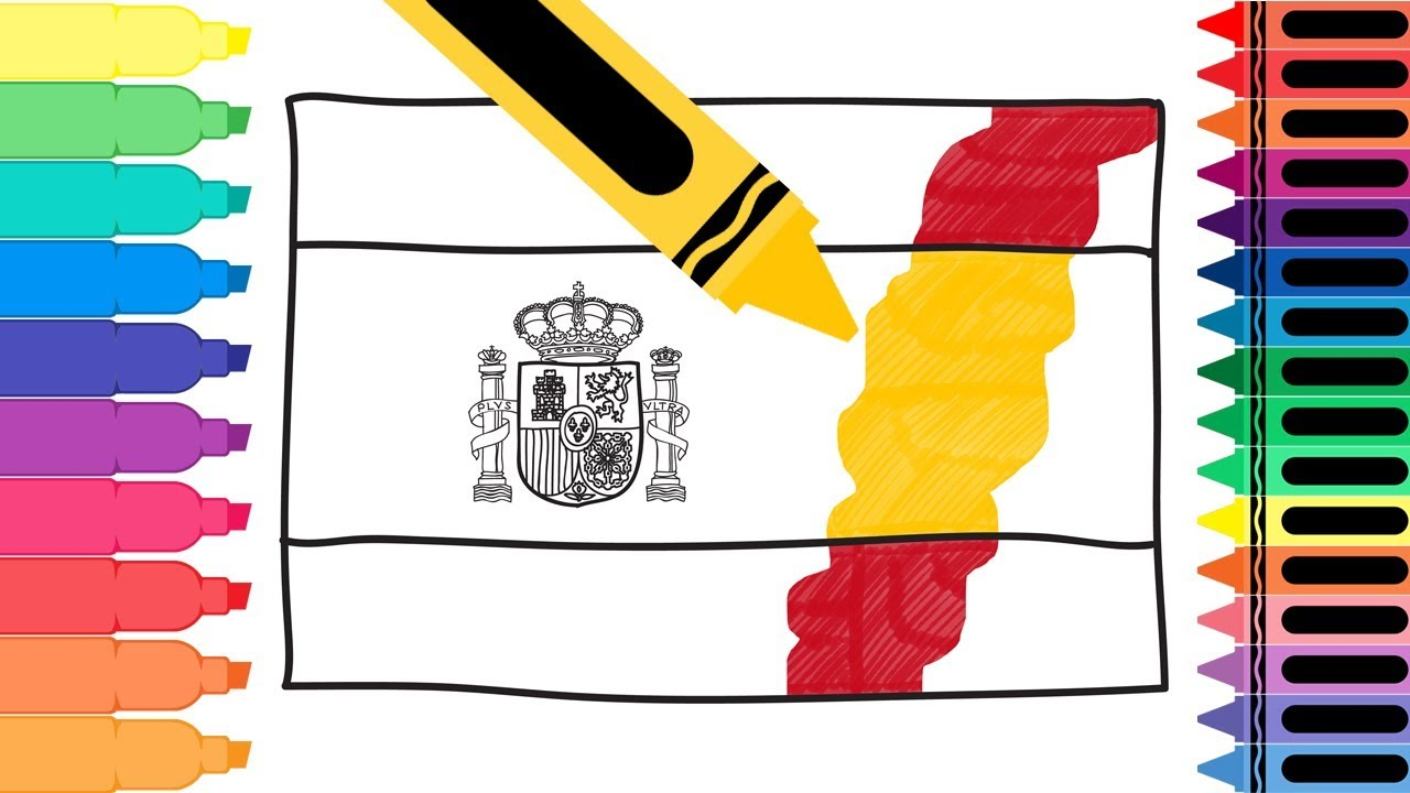 Spain Flag Emblem Coloring Page Thousand Of The Best