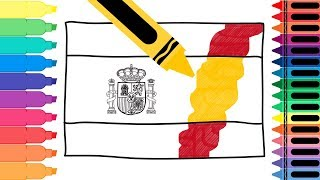 How to Draw Spain Flag - Drawing the Spanish Flag - Coloring Pages for kids | Tanimated Toys
