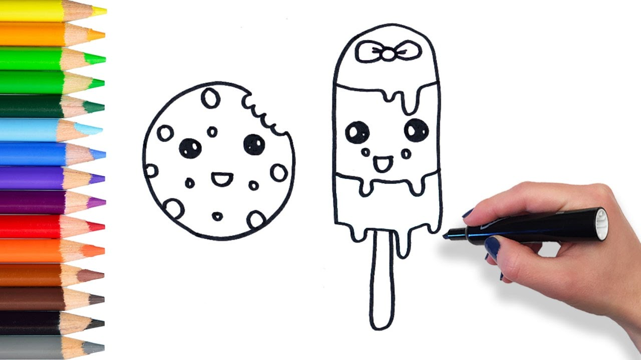 learn to draw cute cookie and popsicle teach drawing for kids