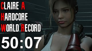 Resident Evil 2 Remake - Claire A Hardcore Speedrun World Record - 50:07