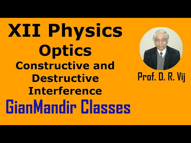 XII Physics | Optics | Constructive and Destructive Interference by Poonma Ma'am