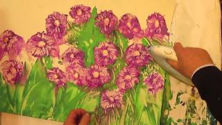 Как рисовать ЦВЕТЫ АСТРЫ восковыми красками. Урок 72(Как научиться рисовать красивые цветы астры восковыми красками. Энкаустика. Как нарисовать цветы восковым..., 2016-01-05T20:03:20.000Z)