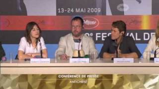 Charlotte Gainsbourg, W. Dafoe, L. von Trier -- Antichrist press conference -- part 1/2