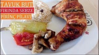 Fırında Tavuk+ Çam Fıstıklı Piriç pilavı+fırında sebze-İftar menüsü-akşam yemekleri,