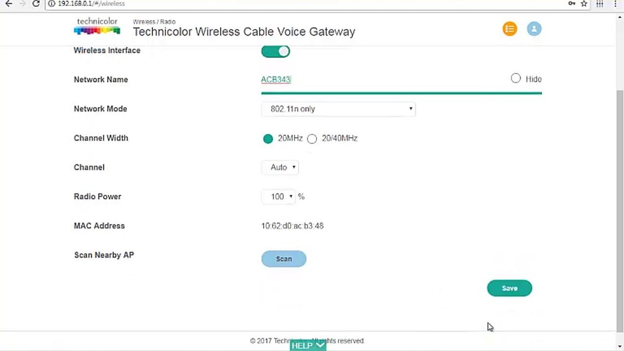 Technicolor, cambiar la contraseña del wifi, megacable