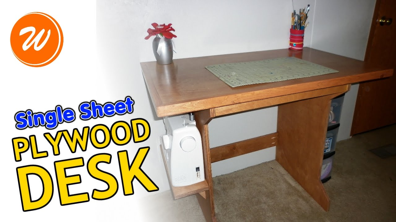 How To Make A Simple Plywood Desk | Single Sheet DIY - YouTube