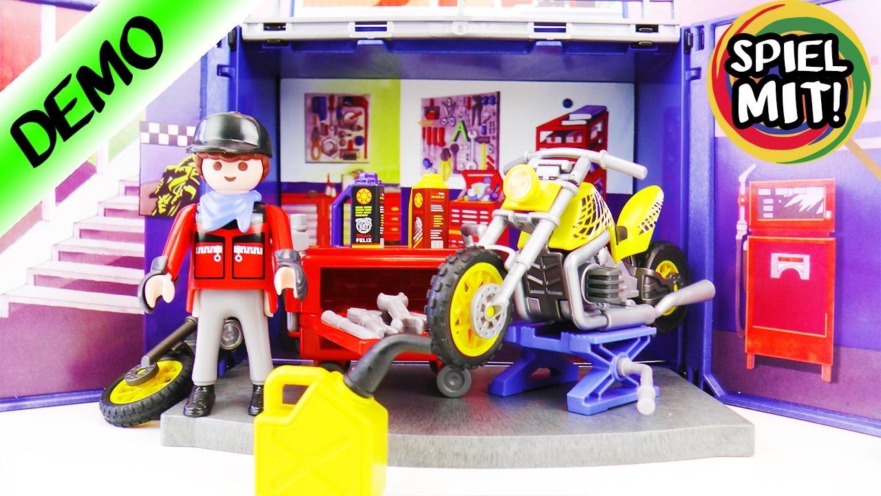 playmobil motorrad werkstatt deutsch mit hebeb hne spiel mit mir kinderspielzeug playmobil. Black Bedroom Furniture Sets. Home Design Ideas