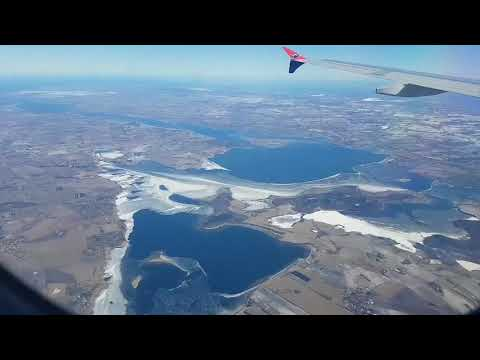 Aerial view from Faroe Islands to Denmark