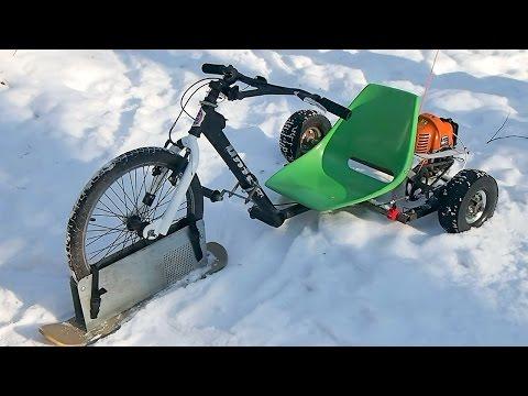 видео: Снегокат с мотором своими руками  - детский полу-снегоход из трайка с двигателем от мотокосы