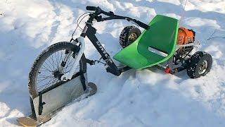 Снегокат с мотором своими руками  - детский полу-снегоход из трайка с двигателем от мотокосы(Детский снегокат с мотором своими руками из трайка - самодельный Drift Trike с бензиновым двигателем от мотокосы..., 2016-01-26T05:31:25.000Z)